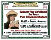 Grocery & Restaurant Savings Certificate DID#60697